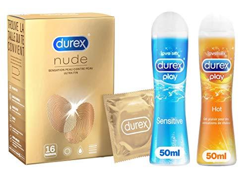 Durex-Prservatifs-Nude-Sensation-Peau-Contre-Peau-et-Deux-Gels-Lubrifiants-Plaisir-Pour-Elle-et-Pour-Lui-Prservatifs-Nude-Gel-Hot-Gel-Sensitive-0